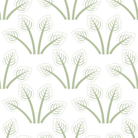 Bunches of painterly vector folk art leaves seamless pattern background. Pastel green white backdrop with hand drawn scandi style foliage. Geometric damask leaf design.Botanical all over print.