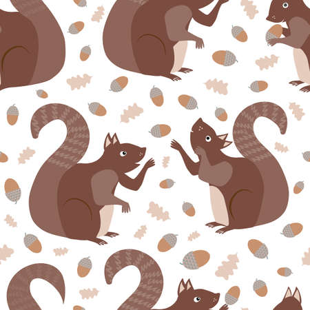 Cute squirrels juggling acorns vector seamless pattern background. Scattered fun woodland animals playing with nuts on white backdrop. Hand drawn cartoon fun creatures design. Modern all over print.