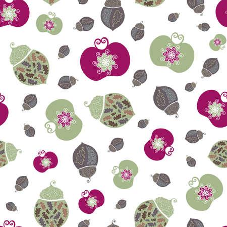 Stylized vector acorn, apples, oak leaves seamless pattern background. Elegant burgundy, green, white backdrop of elegant fruit, nuts in Jacobean style. Hand drawn historical all over print.