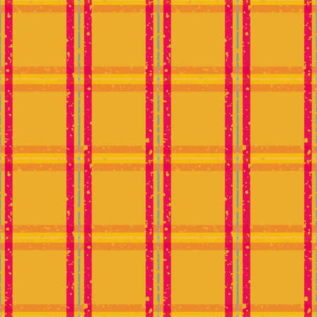 Vector plaid weave seamless pattern background. Grunge flecked textured red, orange and blue woven check backdrop. Modern geometric criss cross gingham shirting cloth style all over print for summer