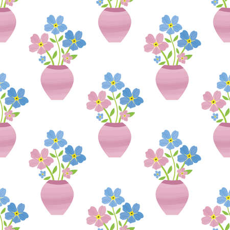 Vases of Forget-Me-Not floral seamless vector pattern background. Backdrop of painterly watercolor effect pink blue mysotis flowers in beautiful containers. Hand drawn botanical design. All over print
