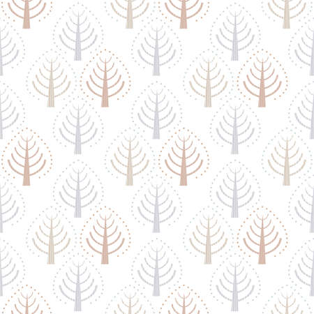 Pastel blue brown trees folk art seamless vector pattern background. Painterly Scandinavian forest plants on white backdrop. Hand drawn stylized geometric damask effect all over print for self-care Archivio Fotografico