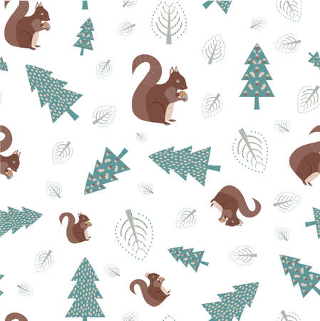Cute squirrel in forest vector seamless pattern background. Scattered folk art woodland animals, acorns and trees on white backdrop. Brown, teal, blue scandi hand drawn motifs modern all over print Vettoriali