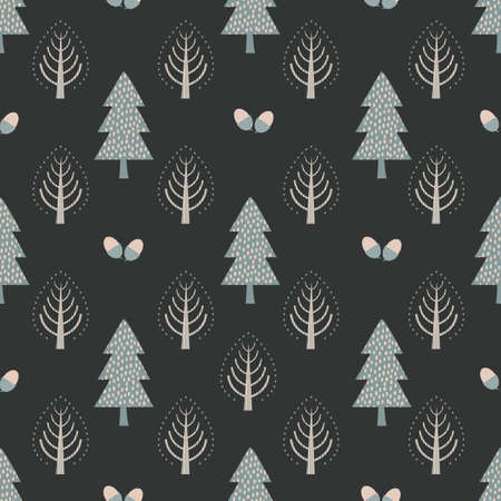 Beautiful stylized trees and pairs of acorns.Vector seamless pattern background. Scandi nordic style forest with nuts on warm dark backdrop. Geometric folk art rustic all over print for winter season Vettoriali