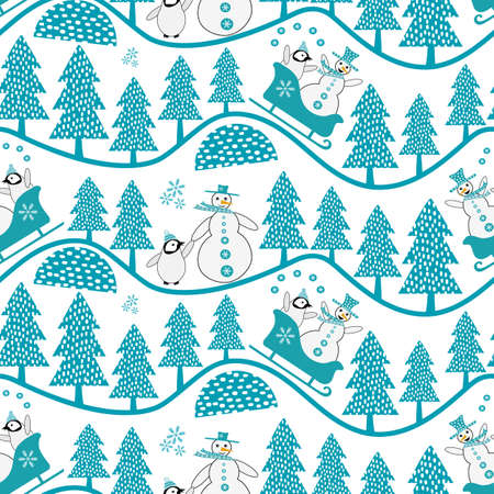 Vector snowman and baby penguin sledging and walking in forest. Seamless vector pattern background. Winter wavy hill tree landscape backdrop repeat with penguins in sledges, juggling with snowballs. Vettoriali