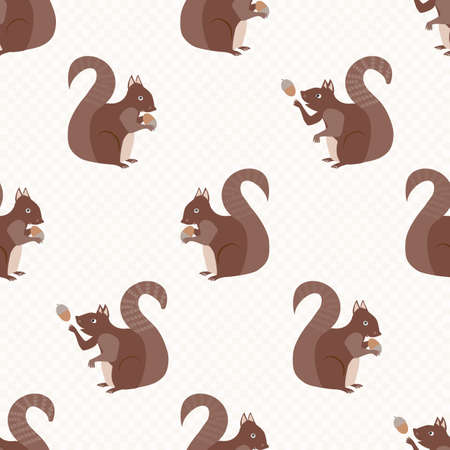 Cute squirrel with acorns seamless pattern background. Red brown woodland animals juggling and holding nuts on gingham textured backdrop. Forest wildlife design. Hand drawn modern all over print