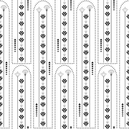 Vector art deco architecture inspired vertical geometric lines, flowers and triangles. Black and white seamless pattern background. Elegant repeat 1920s style tall stylized florals, shapes and frames.