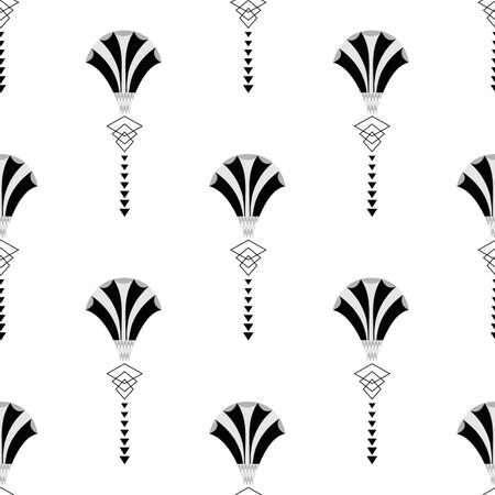 Vector art deco stylized fanning flower seamless pattern background. Monochrome geometric backdrop with alternating elegant fan shaped florals and decorative 1920s style elements. All over print.