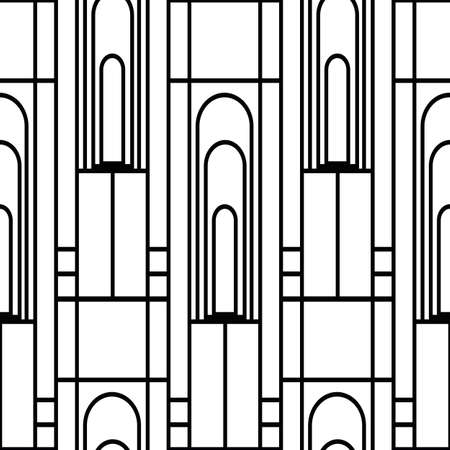 Vector art deco architectural vertical geometric grid design with tall arches, squares, rectangles. Black and white seamless pattern background. Elegant stylized backdrop repeat 1920s style. Vettoriali