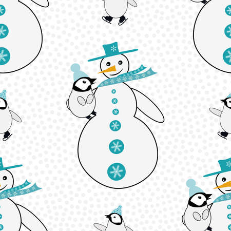 Snowman cuddles baby penguin plus skating emperor chick. Seamless vector pattern background. Blue white winter scene backdrop with snowball texture. Fun hand drawn cartoon geometric all over print 向量圖像