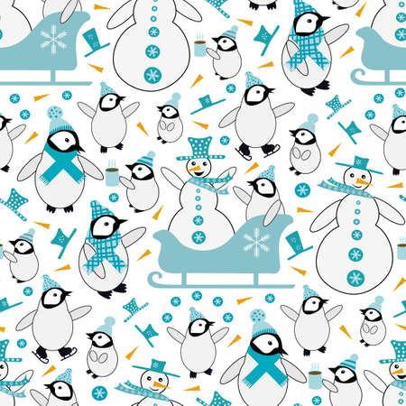 Snowman and baby penguin sledging and iceskating seamless vector pattern background. Blue white orange backdrop with snowmen, small penguins, sledges, hot drinks, carrots. Funky winter activity scene Vettoriali