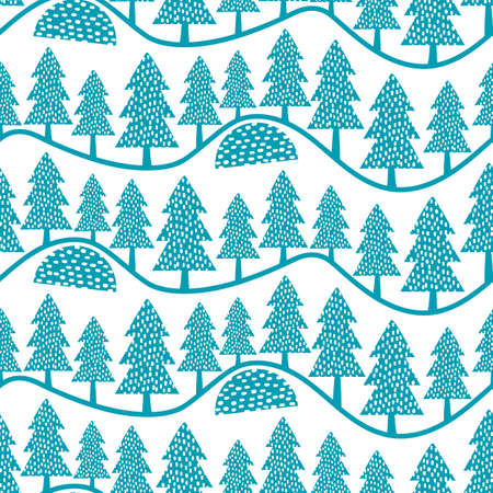 Beautiful vector folk art forest landscape seamless vector pattern background. Blue white backdrop with fir trees in rows on wavy hills. Hand drawn winter illustration. Geometric repeat for holidays
