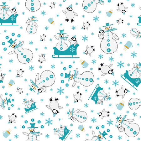 Snowman and baby penguin sledging and iceskating. seamless vector pattern background. Blue white backdrop with laughing snowmen, small penguins, sledges, and snowballs. Funky winter activity scene