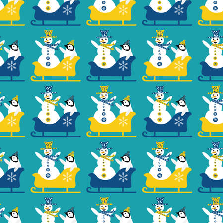 Snowman and baby penguin sledging seamless vector pattern background. Blue yellow geometric backdrop with laughing snowmen, small penguins sitting in sledges with arms in the air. Funky winter scene