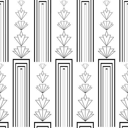 Vector art deco architecture inspired vertical geometric alternating columns and stacks of stylized rhombus flowers. Black and white seamless pattern. Elegant repeat 1920s style ornate all over print Vettoriali