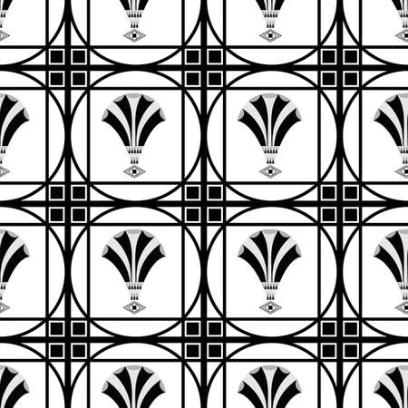 Vector art deco decorative grid and fanning stylized flowers. Seamless monochrome pattern background. Backdrop with regular ornate square boxes filled with floral shapes. Elegant repeat 1920s style