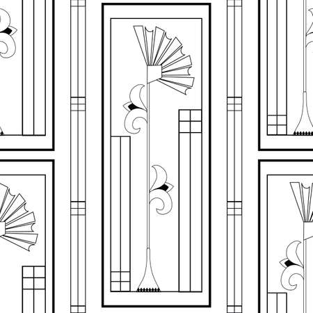 Vector art deco architecture inspired framed stylized fanning rhombus flower and leaves plus vertical geometric lines, boxes. Monochrome seamless pattern background. Elegant backrop repeat 1920s style