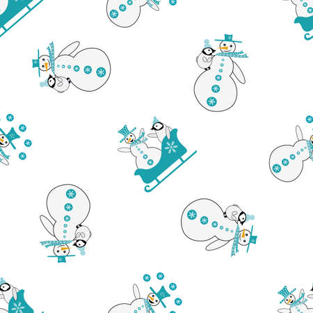 Snowman and baby penguin seamless vector pattern background. Pairs of snowmen and small penguins sledging and hugging, on white backdrop. Hand drawn cartoon character design. Funky winter scene repeat