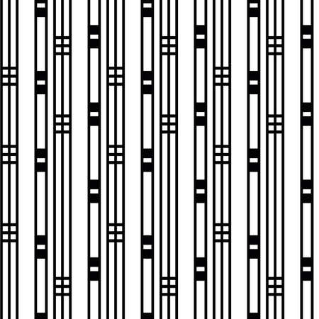 Vector art deco architectural vertical linear geometric grid design with parallel lines stripes, squares. Black and white seamless pattern background. Elegant stylized backdrop repeat 1920s style.