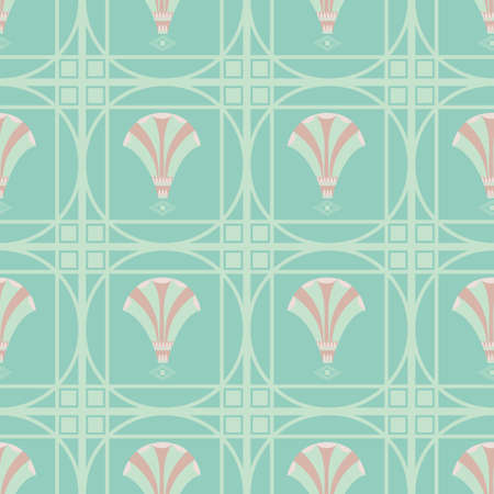 Vector art deco decorative grid and fanning stylized flowers. Seamless blue teal pink pattern background. Backdrop with ornate square boxes filled with floral shapes. Elegant repeat 1920s style