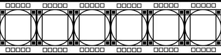Art deco architecture inspired decorative grid vector seamless border. Monochrome banner with intertwined circles and square box shapes. Elegant black and white 1920s style. For ribbon, tape, edging Vettoriali