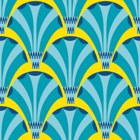 Vector art deco stylized fanning flower seamless pattern background. Blue yellow geometric backdrop with elegant fan shaped flowers. Colorful floral all over print with 1920s style elements.