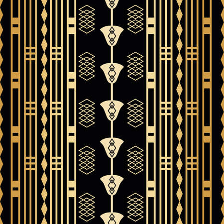 Vector art deco black gold foil stylized flowers, squares, grids linear geometric seamless pattern background. Luxury vintage repeat backdrop with ornamental 1920s style tall florals and elements.