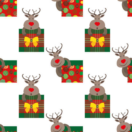 Vector cartoon reindeer with giftboxes seamless pattern background. Cute animal characters with square bow tied presents on white background. Traditional Christmas colors. Funky fun all over print.