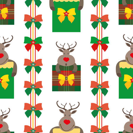Vector cartoon reindeer with gift boxes seamless pattern background. Backdrop with cute animal characters, presents and rows of ribbon bows in traditional Christmas colors. Funky fun all over print.