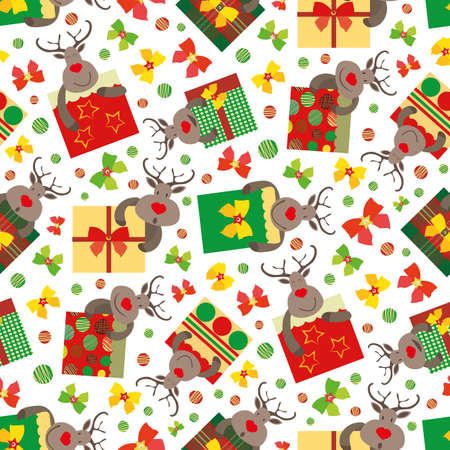 Vector cartoon reindeer with giftboxes seamless pattern background. Cute animal characters with square bow tied presents on white background. Traditional Christmas colors. Busy fun all over print. Vettoriali