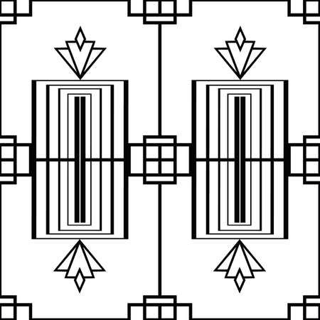 Vector art deco architectural vertical geometric grid with decorative rectangles shapes and stylized rhombus flowers. Monochrome seamless pattern background. Elegant repeat backdrop 1920s style Vettoriali