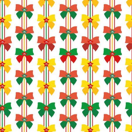 Red, green, gold ribbon and bow vector seamless pattern background. Vertical rows of fun Christmas decorations on white backdrop. Modern design. Geometric all over print for festive packaging Vettoriali