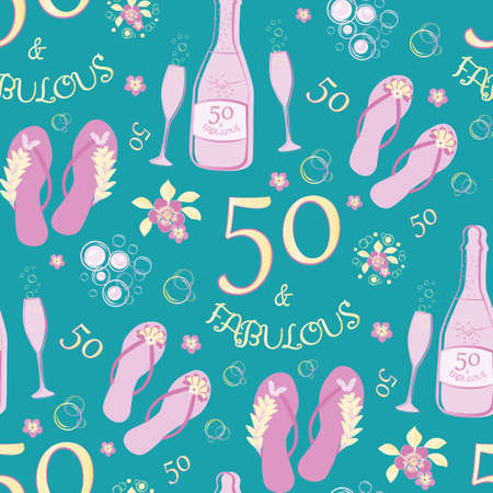 Fifty and fabulous seamless vector pattern background. Luxurious pink,gold, aqua blue backdrop with text, flip flop shoes, Champagne bottles, fizzing glasses, flowers. For birthday celebration concept
