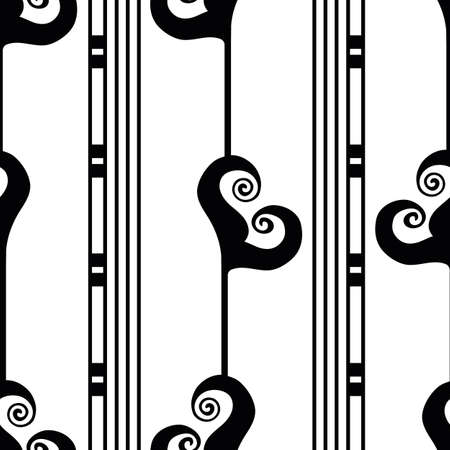 Vector art deco stylized floral foliage striped black white seamless pattern background. Monochrome geometric backdrop with tall flowers and groups of lines. Decorative 1920s style all over print