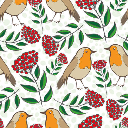 Robin Redbreast, berries and leaves seamless vector pattern background. Hand drawn European garden birds with lush foliage on textured backdrop. Winter nature wildlife and botanical all over print.