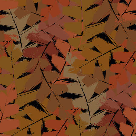 Mono print style brown orange black fall leaves seamless vector pattern background. Textural backdrop with overlapping layered cut out foliage. Painterly botanical design. Homespun all over print