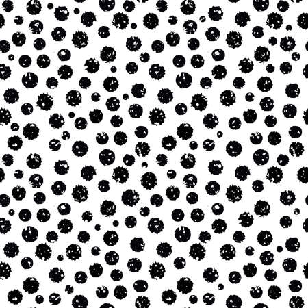 Black and white grunge paint spatter textured vector seamless pattern background. Textural organic painted circles monochrome backdrop. Tossed random design. Shabby chic all over print, urban vibe