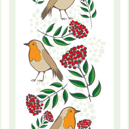 Robin Redbreast, berries, leaves, stripes seamless vector pattern background. Geometric backdrop with garden birds and red fruit cotoneaster plant. Winter nature wildlife and botanical all over print.