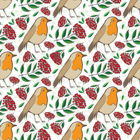 Robin Redbreast, berries and leaf foliage seamless vector pattern background. Red green backdrop with garden birds and fruit of cotoneaster plant. Winter festive wildlife and botanical all over print.