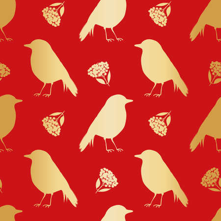 Gold foil robin redbreast, berries, leaves seamless vector pattern background. Festive red backdrop with birds and branches of cotoneaster plant. Winter wildlife and botanical all over print.