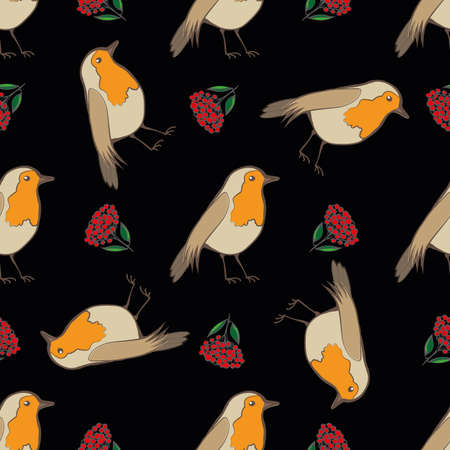 Robin Redbreast, berries and leaf foliage seamless vector pattern background. Garden birds and fruit of cotoneaster plant on black background. Winter festive wildlife and botanical all over print. Vettoriali