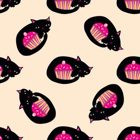 Cute kawaii black cats curled around pink cupcakes. Vector seamless pattern background. Backdrop with cartoon kitties guarding a muffin. Hand drawn pet illustration. Fun all over print for kids