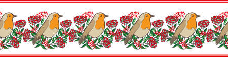 Elegant vector border with Robin Redbreast and cotoneaster berries and leaves. Banner with clusters of garden bird sitting amongst lush foliage and shrub fruit. Winter festive nature wildlife design