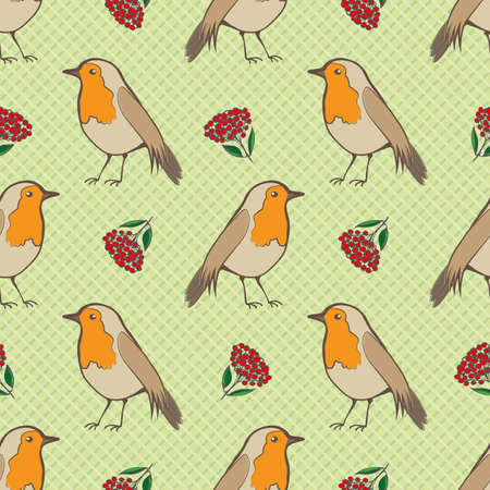 Robin Redbreast, berries and leaf foliage seamless vector pattern background. Garden birds and fruit of cotoneaster plant on green background. Winter festive wildlife and botanical all over print. Vettoriali
