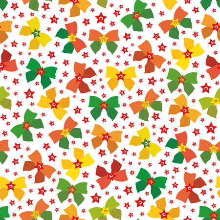 Vector red, green, gold present bow seamless pattern background. Scattered gift bows and stars decorations on white backdrop. Hand drawn Christmas retro vintage all over print for festive season.