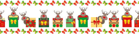 Vector cartoon reindeer with giftboxes seamless border Festive fun banner with cute animal characters and square bow tied presents on white background. Traditional Christmas colors. For ribbon, edging Vettoriali