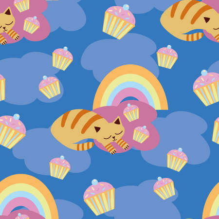 Cute vector sleeping kawaii cats with cupcakes, rainbows. Seamless pattern background. Snoozing ginger kitten curled up on blue cloud sky backdrop. Hand drawn pet illustration. All over print