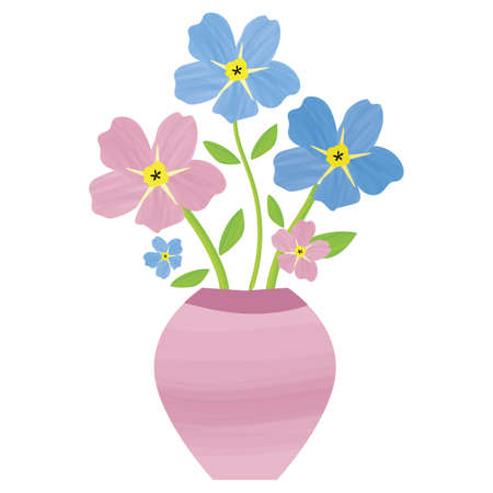 Vase of Forget-Me-Not floral isolated illustration. Painterly watercolor shading effect pink blue mysotis flowers in beautiful containers. Hand drawn botanical design for spring or summer concept Vettoriali