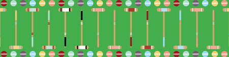 Croquet game seamless vector border. Fun repeat banner of mallets and balls on lawn green backdrop. Colorful hand drawn design. Edging, ribbon, trim for summer garden party and leisure concept