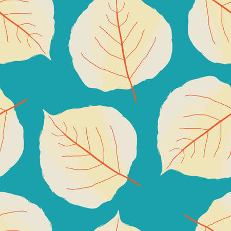 Aspen leaf seamless vector pattern background. Beautiful orange yellow hand drawn leaves with veins on aqua blue backdrop. Painterly watercolor effect design. Botanical organic foliage all over print.